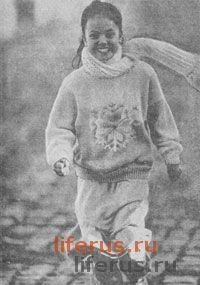 Пуловер с орнаментом для девочки 12-14 лет