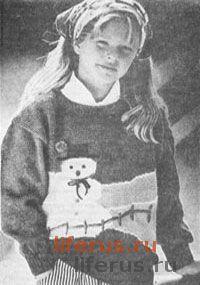Пуловер со снеговиком для девочки 9-11 лет