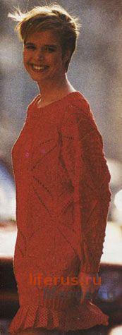 Пуловер с крупными листьями размер 44-46