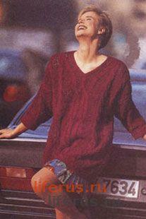 Пуловер с ажурной «косой» размер 42-46