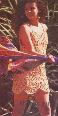 Платье с цветочным мотивом, связанное крючком размер 36-38