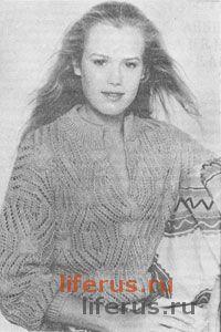 Ажурный пуловер для лета размер 46-48