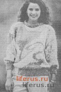 Пуловер с трехцветным орнаментом размер 46-48